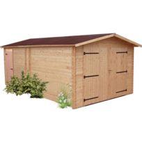 Habrita - Garage Denis madriers Douglas 28 mm sans plancher toit double pente 20,98 m²