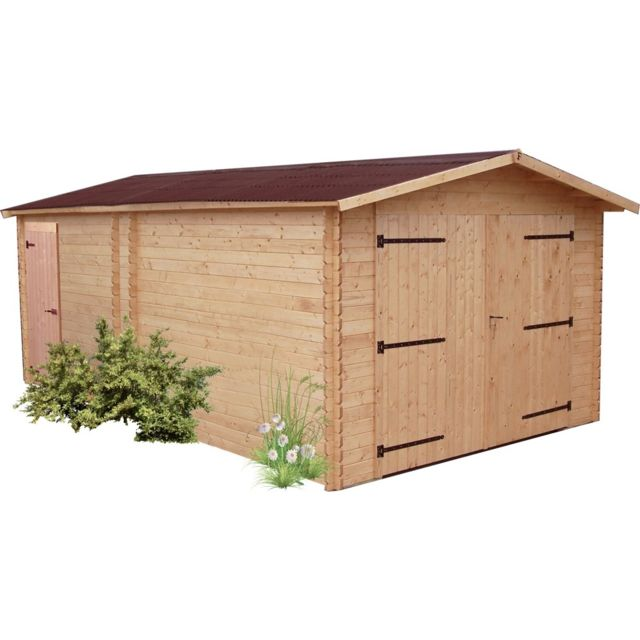 HABRITA Garage DENIS madriers Douglas 28 mm sans plancher toit double pente 20,98 m²