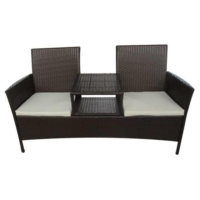 Icaverne - Ensembles de meubles d'extérieur famille Banc à deux places avec table basse Rotin synthétique Marron