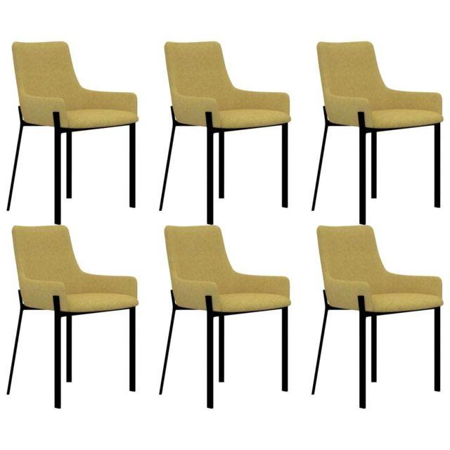 Stylé Fauteuils et chaises ensemble Oslo Chaises de salle à manger 6 pcs Jaune Tissu