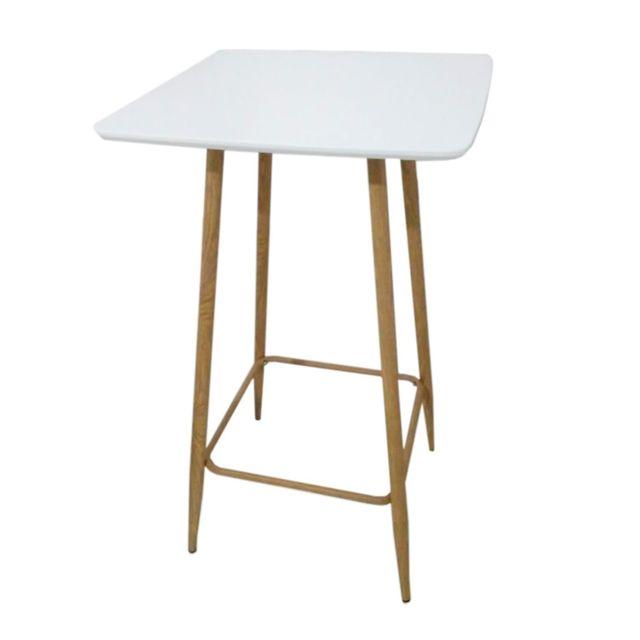 The Home Deco Factory Table haute scandinave Tobias - L. 60 x H. 102 cm - Blanc