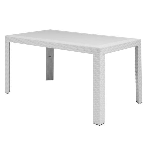 Areta - Table de jardin 140x80cm en polypropylène imitation résine ...