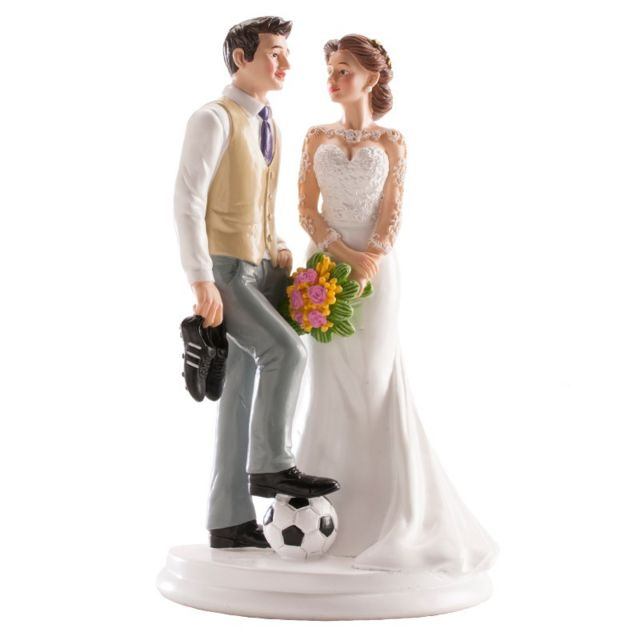 Figurine Couple Marie Football Decoration Gateau Mariage 849