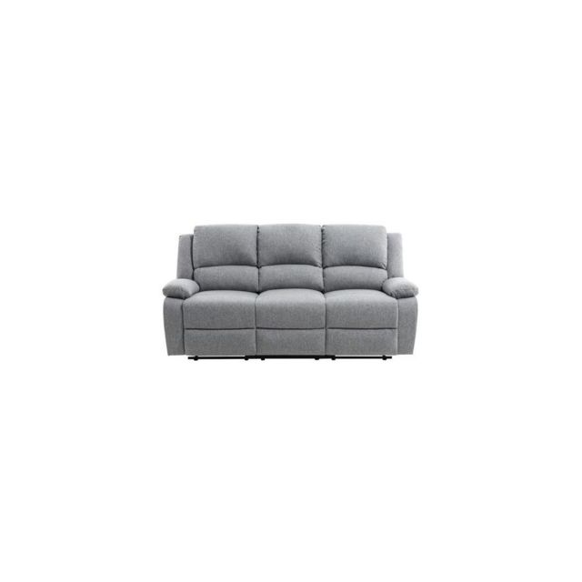 Sans Marque Relax Canape De Relaxation 3 Places - Tissu Gris Clair - L190 X P93 Cm