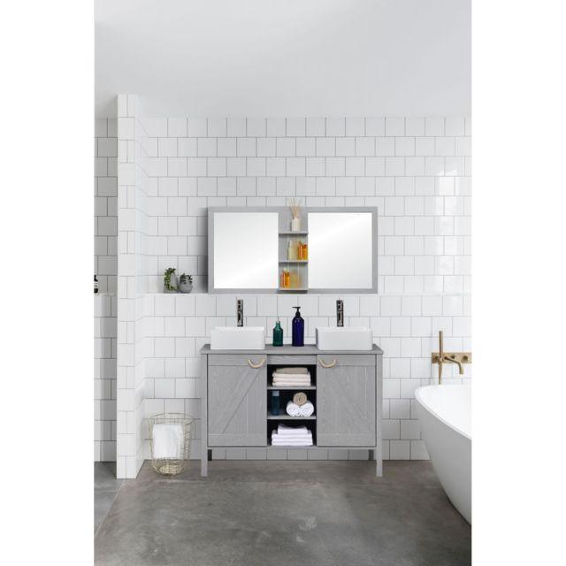 vasque avec meuble Mob-in - Ensemble meuble sous-vasque Sdb 120 cm + miroir Marina