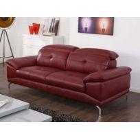 VENTE-UNIQUE - Canapé 3 places en cuir de buffle KENNEDY - Rouge