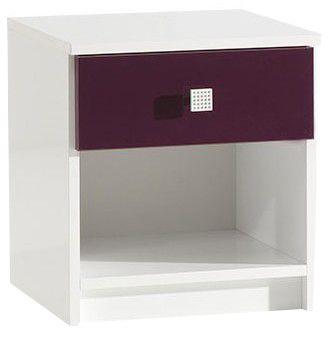 comforium table de nuit design blanc et mauve laqu pas cher achat vente chevet. Black Bedroom Furniture Sets. Home Design Ideas