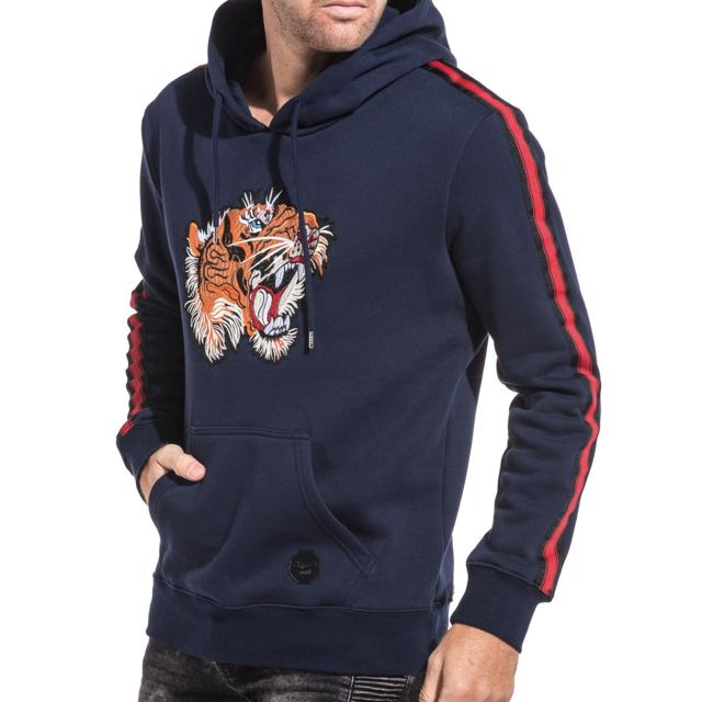Project X Sweat-shirt homme navy tigger avec bandes