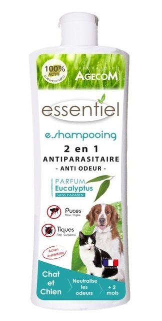 agecom shampoing antiparasitaire essential 2 en 1 anti odeur pour chien et chat flacon 250 ml. Black Bedroom Furniture Sets. Home Design Ideas