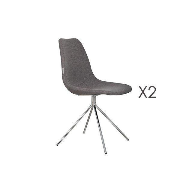 Lot de 2 fauteuils en tissu - gris