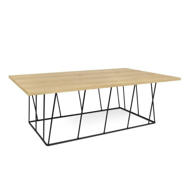Inside 75 Table basse Helix 120 plateau chêne structure laquée noir mat