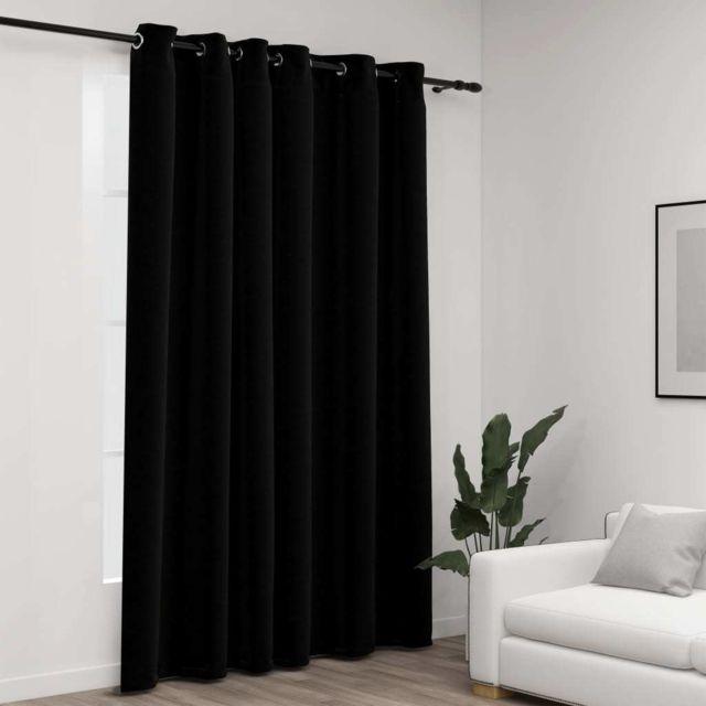 Vidaxl Rideau occultant Aspect de lin avec œillets Noir 290x245 cm