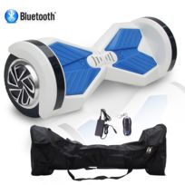COOL AND FUN - COOL&FUN Hoverboard Batterie Samsung, Bluetooth gyropode 8 pouces Blanc Bleu