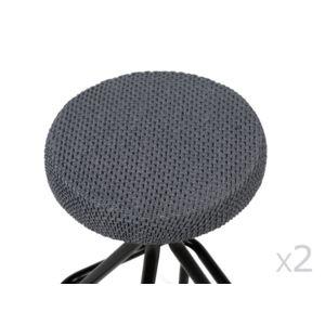 comptoir des toiles housse de tabouret unie bi extensible coton polyester lot de 2 lisa. Black Bedroom Furniture Sets. Home Design Ideas