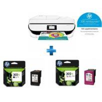 HP - OfficeJet 5232 multifonction 3 en 1 + F6U67AE - Cartouche d'encre 302XL 3 couleurs + F6U68AE - Cartouche d'encre 302XL Noir