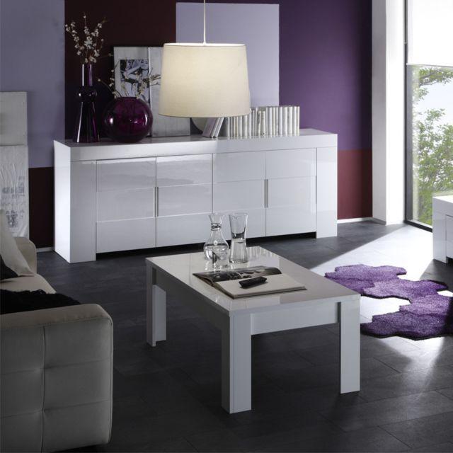 Tousmesmeubles Table basse laqué Blanc brillant - Scafati