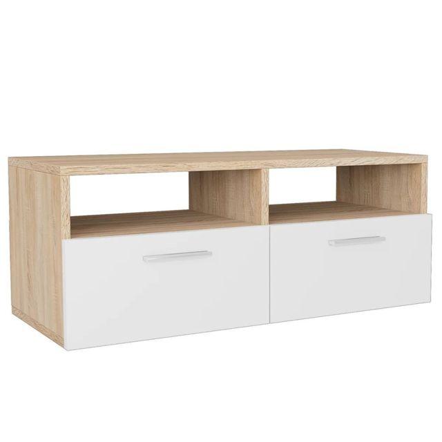 Helloshop26 Meuble télé buffet tv télévision design pratique aggloméré 95 cm chêne et blanc 2502019