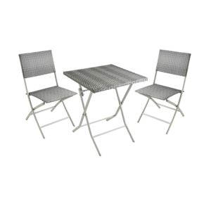 carrefour balcon set table et 2 chaises r sine tress gris fse233 2 pas cher achat. Black Bedroom Furniture Sets. Home Design Ideas