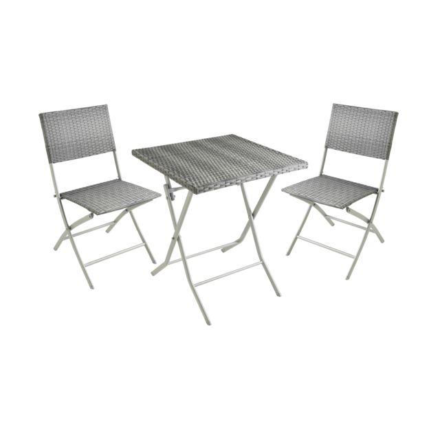 Carrefour Balcon Set Table Et 2 Chaises Resine Tresse Gris