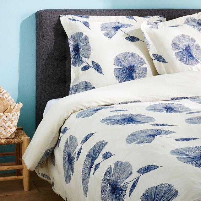 tex home parure bleuet housse de couette 2 taies d 39 oreiller en satin pas cher achat. Black Bedroom Furniture Sets. Home Design Ideas