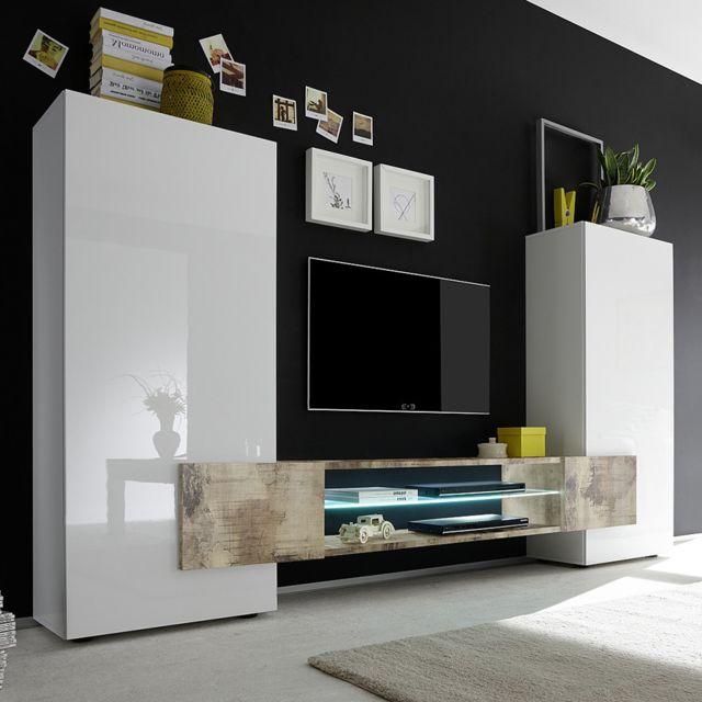 Sofamobili Ensemble meubles Tv blanc laqué brillant et couleur bois Argos 2