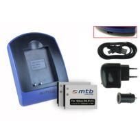 mtb more energy® - 2 Batteries + Chargeur USB, En-el12 pour Nikon Coolpix S9300, S9400, S9500