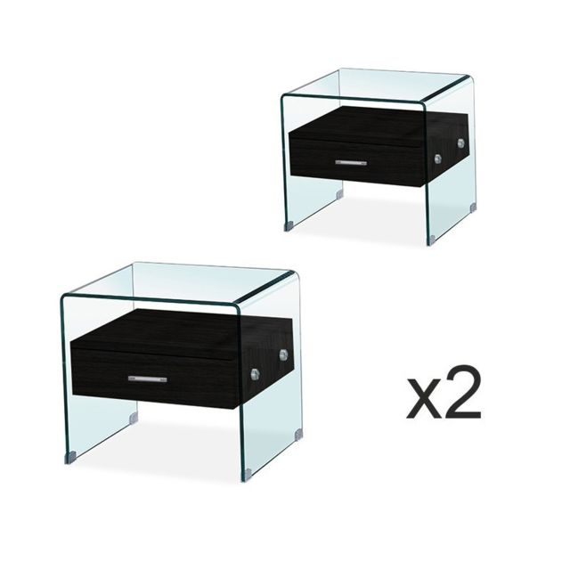 Meubler Design Lot de Table de chevet en verre Elsa noir