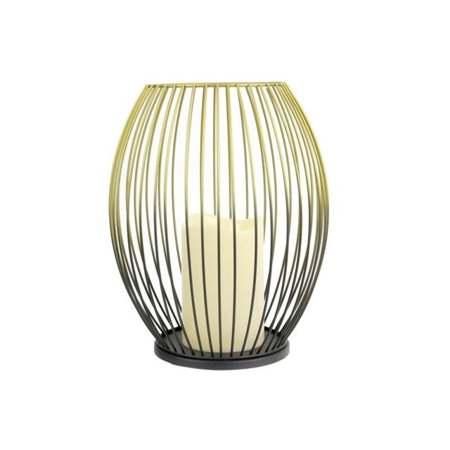 Lanterne filaire bicolore avec bougie led - L 19,5 x l 19,5 x H 24 cm - Noir et Doré