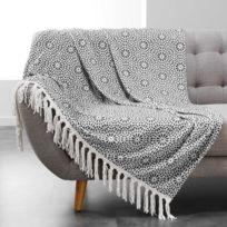 Douceur D'INTERIEUR - Plaid à franges flanelle Tunis 125x150 cm anthracite
