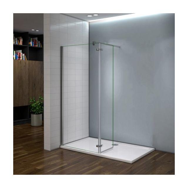 marque generique paroi de douche 100x200cm en verre anticalcaire avec un pivotant retour de. Black Bedroom Furniture Sets. Home Design Ideas