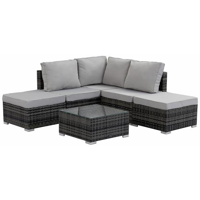 habitat et jardin salon de jardin modulable en r sine tress e lima florida canap d 39 angle. Black Bedroom Furniture Sets. Home Design Ideas