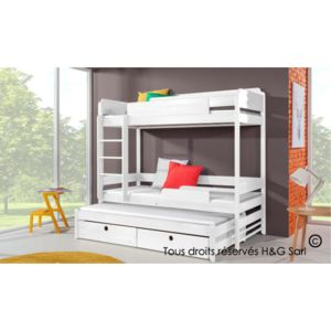 house and garden lit superpose blanc 3 places funky pas cher achat vente lit enfant. Black Bedroom Furniture Sets. Home Design Ideas