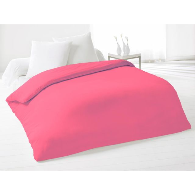 david olivier housse de couette coton 240x260 cm fleur de percale fuchsia rose 260cm x 240cm. Black Bedroom Furniture Sets. Home Design Ideas