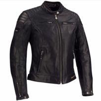 blouson moto cuir femme LADY STRIPE vintage toutes saisons noir gris SCB1278