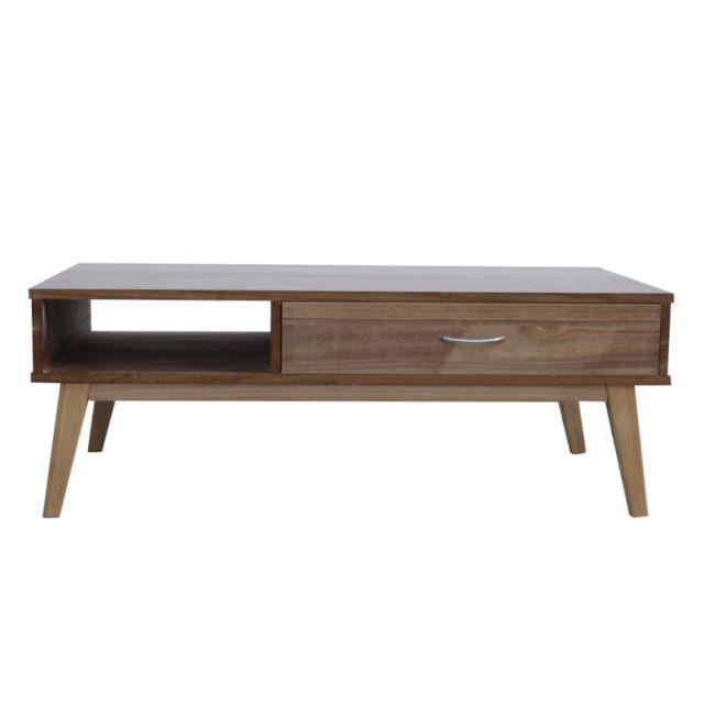 Mobili Rebecca Table de Salon Tables Basse 2 Tiroirs Marron Bois Moderne