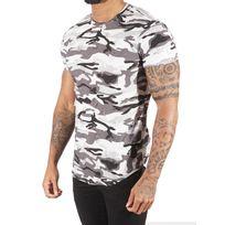 Tee shirt camouflage homme Paris 88171155, Taille: S, Couleur: Blanc