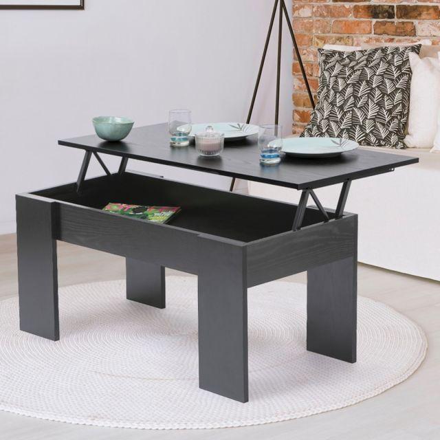 Idmarket Table Basse Avec Plateau Relevable Bois Noir Pas Cher