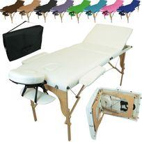 VIVEZEN - Table De Massage Pliante 3 Zones en bois + Housse de Transport