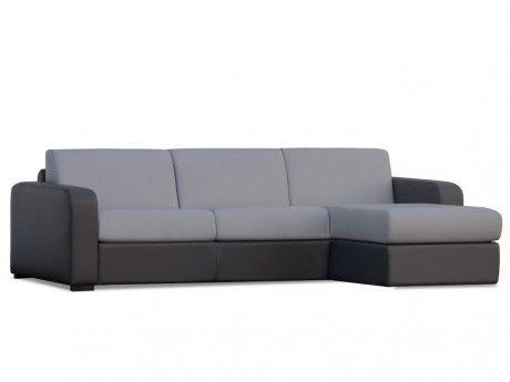 MARQUE GENERIQUE Canapé d'angle convertible express et réversible FLAVIEN en simili - Bicolore gris clair/ anthracite