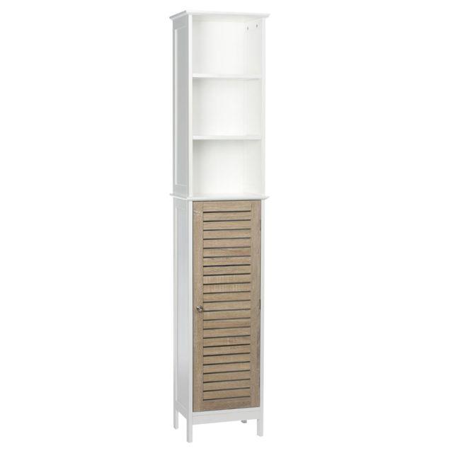 instant d 39 o colonne de salle de bain blanc bois gris blanc pas cher achat vente meuble. Black Bedroom Furniture Sets. Home Design Ideas
