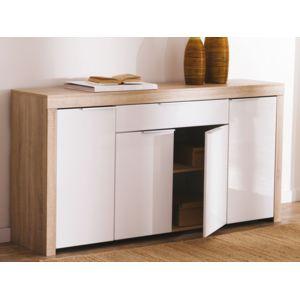 marque generique buffet bas 4 portes 1 tiroir blanc et bois l177 2 cm naxis pas cher achat. Black Bedroom Furniture Sets. Home Design Ideas