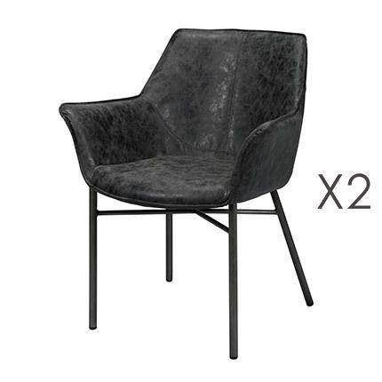 Lot de 2 fauteuils en Pu noir avec piétement métal gris brossé