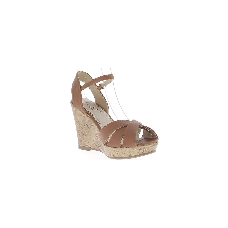 55e1d6fb4313d CHAUSSMOI- Sandales compensées camel à talon de 10cm aspect cuir brides  entrecroisées
