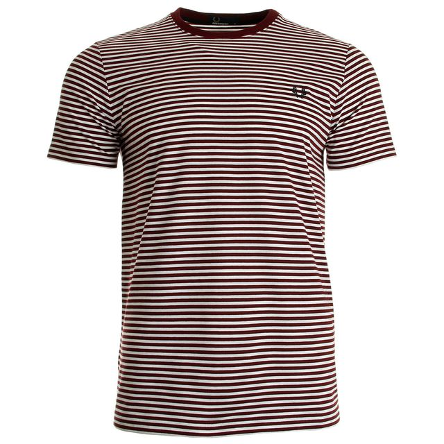c57b1f4af4c Fredperry - Fine Stripe Tee-Shirt Rosewood - pas cher Achat   Vente ...