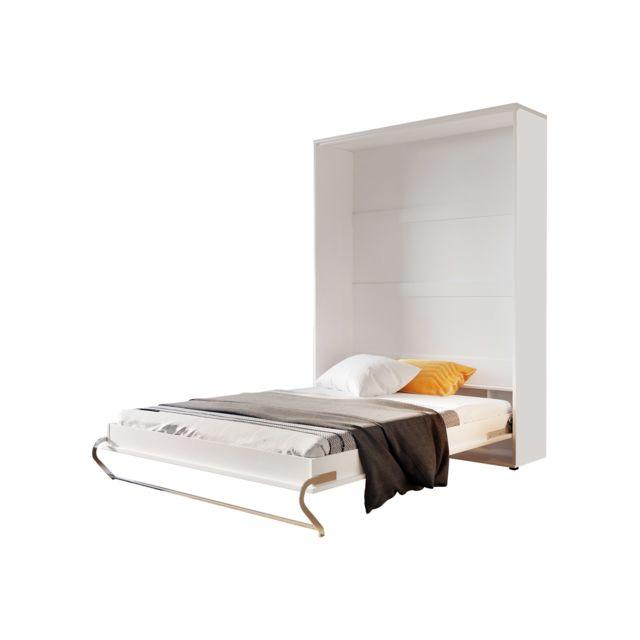 Lit Escamotable Vertical 120 X 200 Blanc Perle