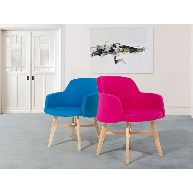 Beliani Fauteuil en tissu-Bleu-Chaise design- Ystad