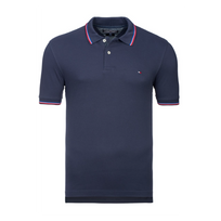 Tommy Hilfiger - Polo Slim Fit Bleu Marine A Liseres Taille Xl