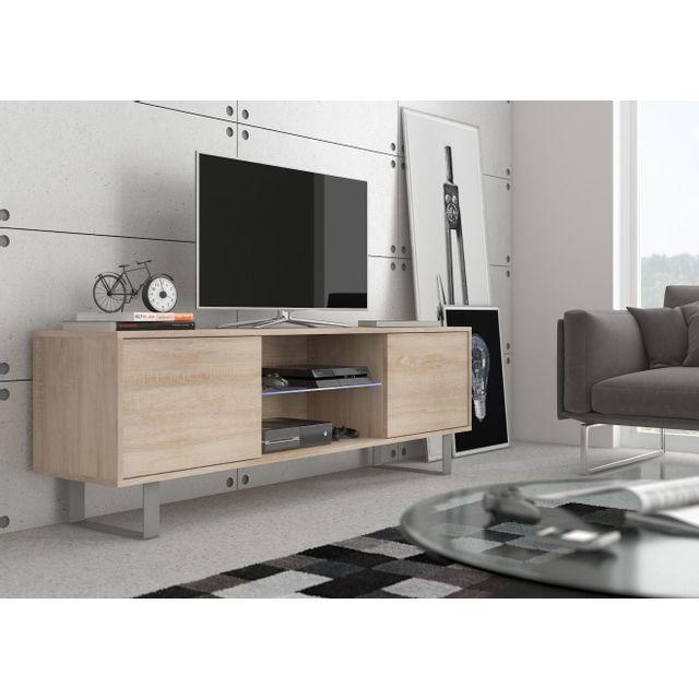 Vivaldi King 2 Meuble Tv Design coloris chêne sonoma. Eclairage à la Led bleue