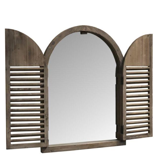 L'ORIGINALE Deco Miroir Fenêtre Campagne Volet Industriel Bois 75 cm x 59 cm