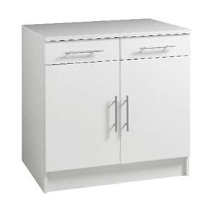 bas profondeur 60cm largeur 80cm 2 portes 2 tiroirs blanc - pas ... - Meuble Cuisine 60 Cm Largeur
